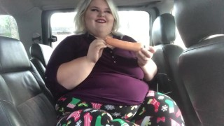 SSBBW Nicole Ann uses dildo in car on her wet pussy