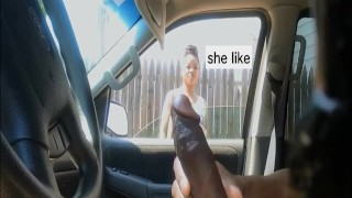 exhib public in car woman watch dick