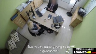 Big Tits Blonde Reluctantly Fucks Loan Manager For Cash