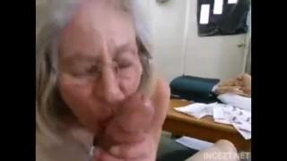 Granny is suck Grandsons dick.