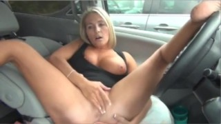 blonde milf car exhibitionism and flashing on webcam