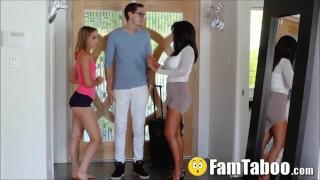 Soccer Mom Interrupts Stepsister Slurping Her Brothers Dick