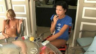Nude smoking girls outdoor