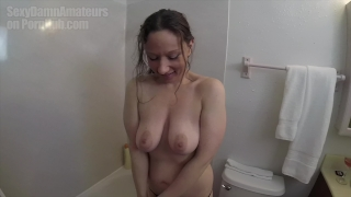 Homeless girl showered in my bathroom (playing with her wet, hairy pussy)