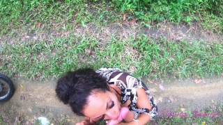 Amateur teen sucks in the woods with cum in mouth