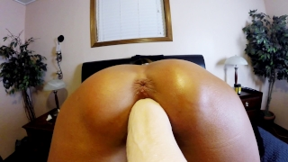 CLOSE UP AMATEUR HAS GOOSE BUMP ORGASMS DOGGY STYLE DILDO&ANAL BEADS