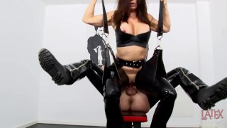 Extreme squirting, fucking and pissing in latex