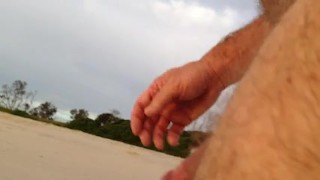 flash dick touch new at beach and talk