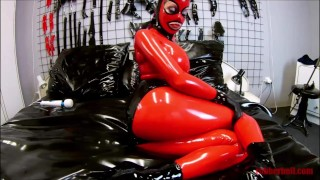 POV: Latex lady in red catsuit gets fucked by white guy and big cock