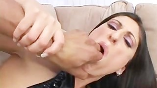 Nasty babe deepthroating hard two big cocks for cum
