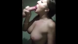 Real stepsister sucks my cock untill I cum