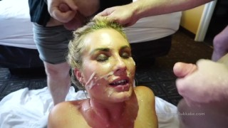 Women faces covered in CUM