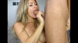 Hot sexy big tits milf deep throat huge cock blowjob swallow