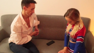 Virgin American Cheerleader Squirts and Cums for the First Time