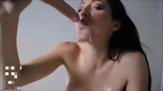 SUPER SLOPPY gagging deepthroat drooling on tits blowjob slut