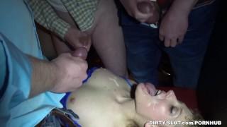 Cum slut Nicole gangbanged by 30 guys at a public bar