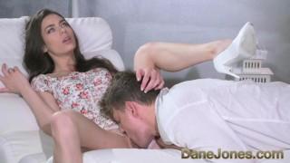 Dane Jones Hairy pussy brunette in white panties fucked doggystyle
