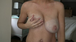 Busty Hannah Bell's tits are engorged with milk and need relief
