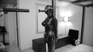 Sexy BDSM Latex Girl's Muffled Moans As She Cums While Sucking A Big Dildo
