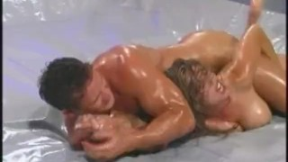 oil wrestling 2- titty pinned
