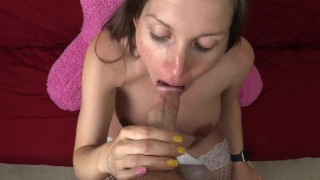 Pregnant milf sucks dick and gets fucked then cummed on her belly