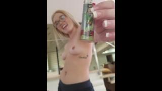 SMOKING BLUNT amateur Katie Kush BALL BUSTING POV