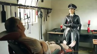 Gloved Mistress smoking and cock teasing