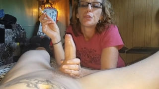 Sexy amateur smokes while sucking a cock,POV,mouthful of hot cum