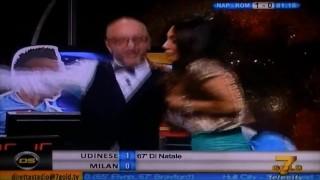 Marika Fruscio oops big boobs pop out of dress live tv