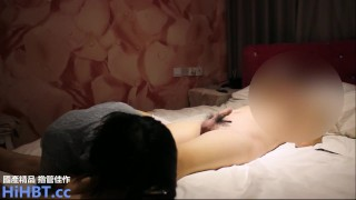 Chinese girl sucked bf's dick and fucked in a hotel